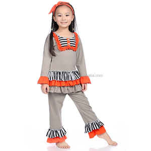 Wholesale Children's Boutique Clothing Fall Baby Clothes Grey Long Sleeve Ruffle Outfit For Baby Girls Of 0-8Years Old