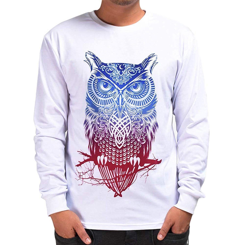 PHOTNO Mens Sweatshirts,Mens Tee Shirts 3D Print Pullover Tops Sweatshirts Blouse T Shirts for Men