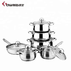 Kitchen Wares Induction Pots And Pans Non Stick Cooking Pot Stainless Steel Cookware Set