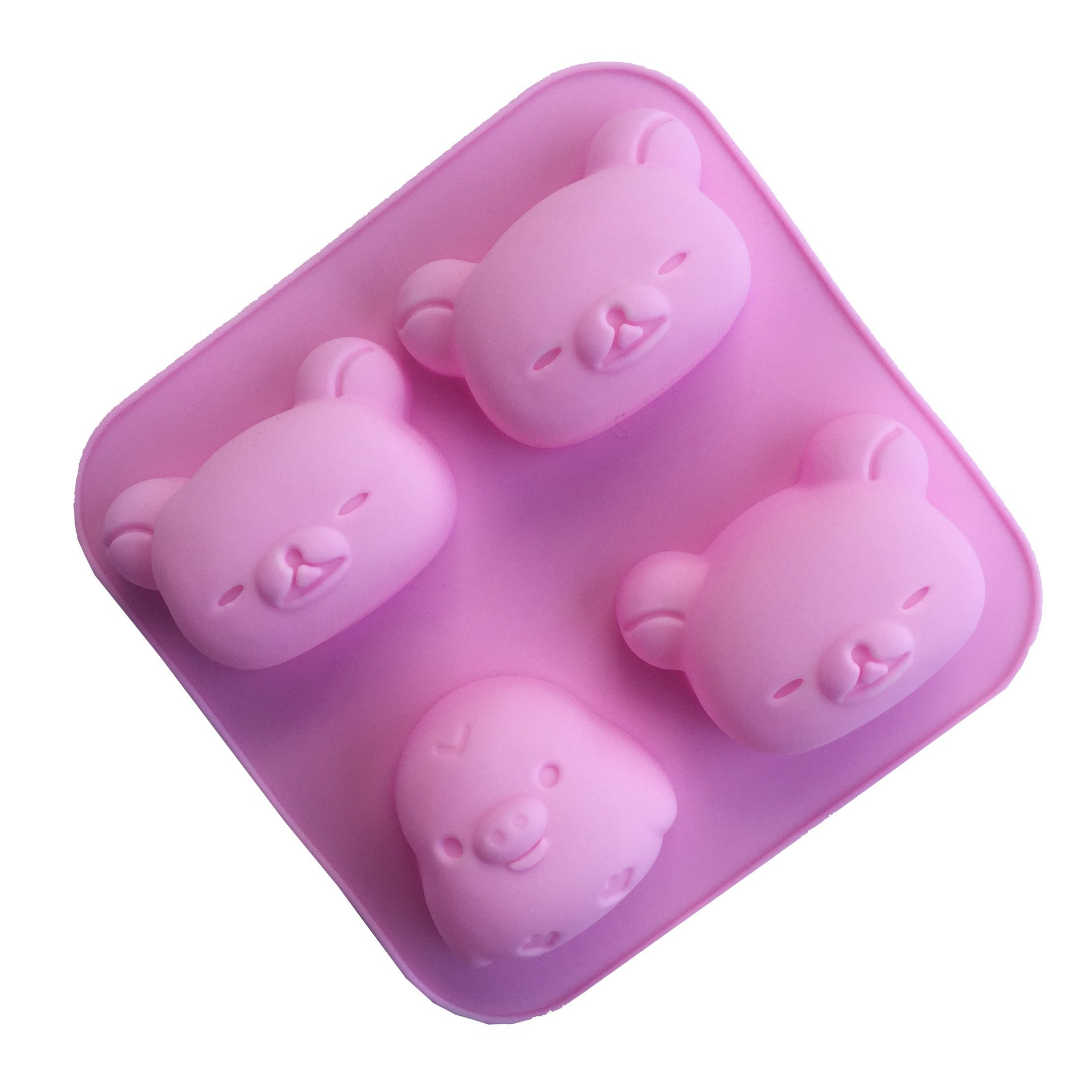 Always Your Chef Silicone Chicken Bear Soap Molds/Cake Molds/Jello Molds, Baking Molds for Candy,Chocolate and More, Random Colors