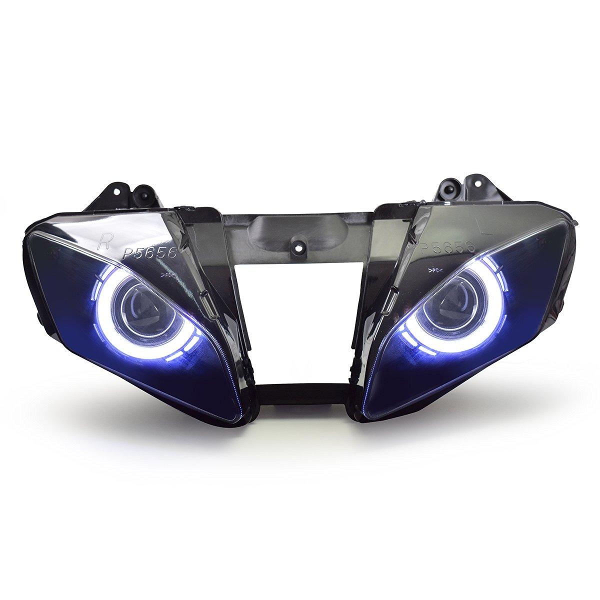 KT LED Headlight Assembly for Yamaha R6 2008-2016 V1 White Angel Eye