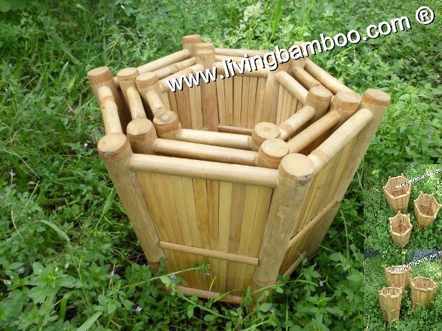 HEXAGONAL FLOWER STAND MADE FROM NATURAL BAMBOO