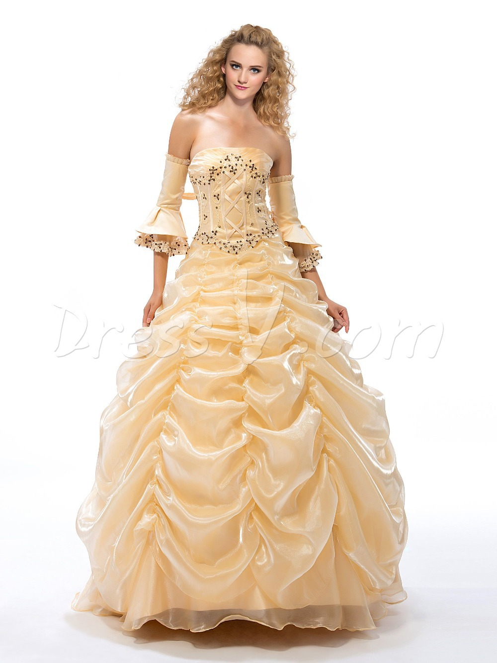 f46426bf3c4 Get Quotations · Vintage Romantic Champagne Quinceanera Dresses Strapless  Appliques Ruffles Puffy Lovely Princess Quinceanera Party Gowns