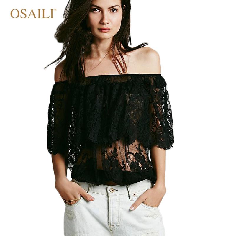 d8c857c02172b Get Quotations · New 2015 Fashion T Shirt Women Haft Sleeve Sexy Lace  Crochet T-Shirt Hollow Tops