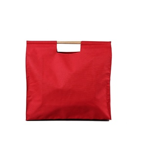 600D with PU/PVC coated shopping bags with wooden handle,high quality tote shopping bags