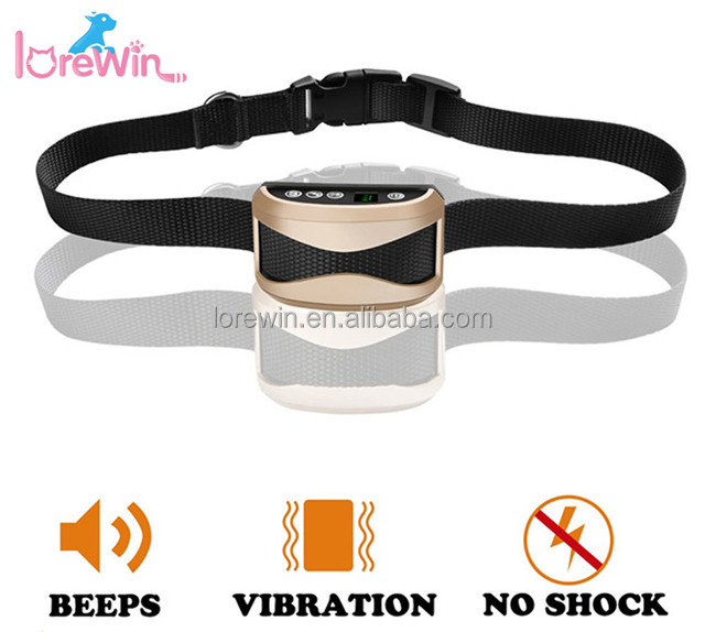 LoreWin LY-165B Rechargeable Dog Bark Collar Waterproof Sound/Vibration Adjustable Strap No Shock Bark Collar