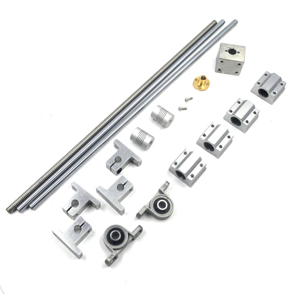 Lead Screw Bearing Mounts, Mergorun 300mm Horizontal Optical Axis & 8mm Lead Screw Dual Rail Shaft Support Pillow Block Bearings & Flexible Shaft Coupling With Set of 17
