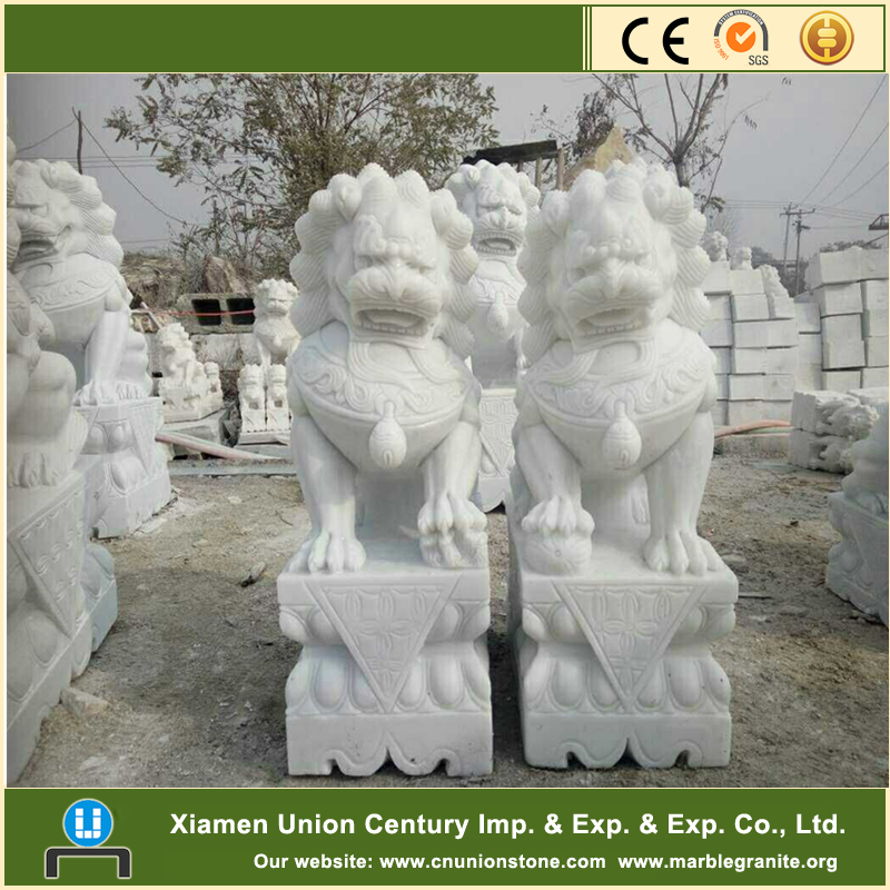 Chinese artistic carving white marble lion head statues