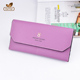 Ladies violet purse leather wallet inserts for credit card high quality woman pu wallet