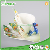 peacock cheap Drinkware Ceramic Peacock Coffee Tea Set Cup/Saucer/Spoon Expresso Tasse Assiette, ceramic mug Christmas Gift