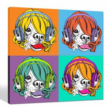 Pop Art Lienzo Impresión De Perros Escuchar Música Pared Enmarcado ...