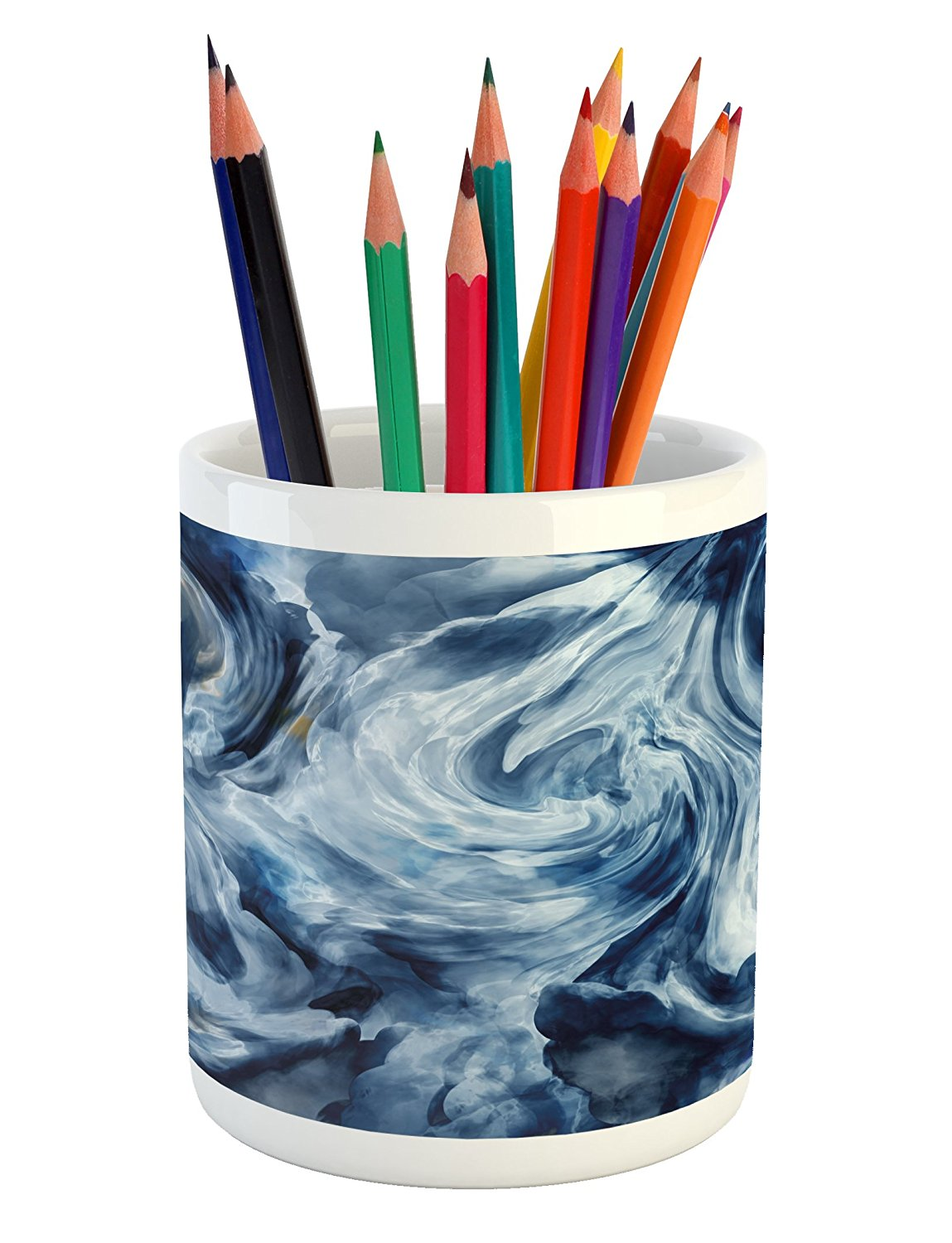 Marble Pencil Pen Holder by Lunarable, Grunge Stormy Murky Color Shades Motif Background with Blurry Effects Image, Printed Ceramic Pencil Pen Holder for Desk Office Accessory, Dark and Pale Blue