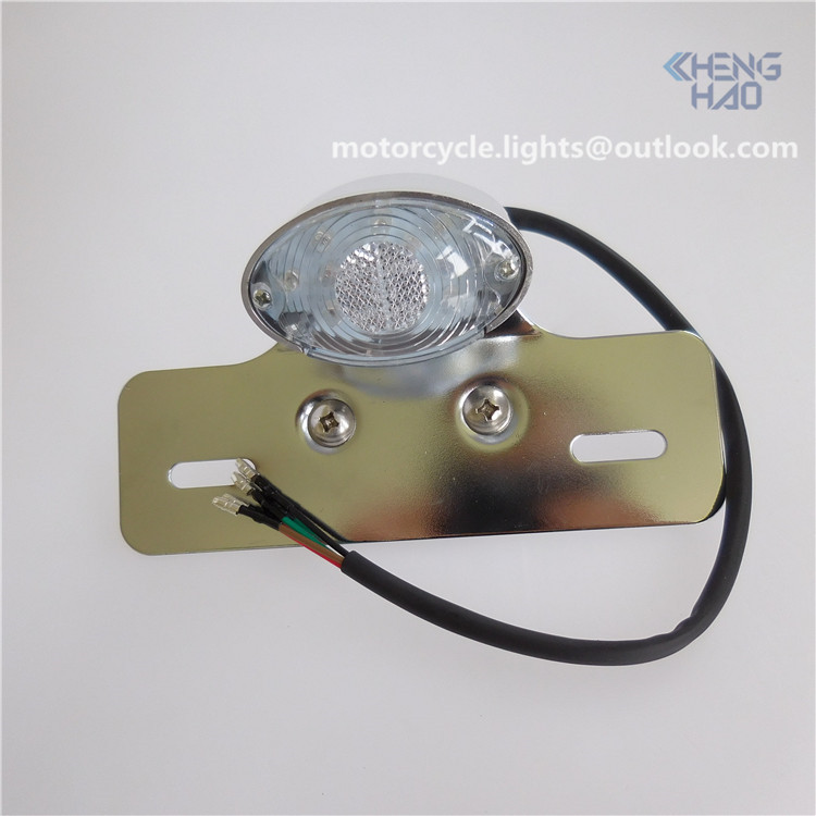 CH-2008-3 Chenghao single cateye chrome led tail light 12v motorcycle led stop run turn light for dirt bike chopper cruiser