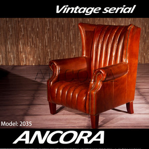 high quality antique leather armchair sofa AN-2035