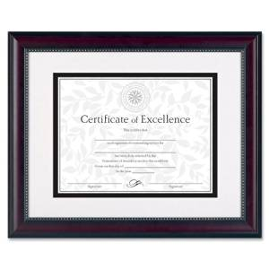 Burnes Home Accents Document Frame,w Bevel Mat,13-1/4quot;X16-1/4quot,Black/Rosewood