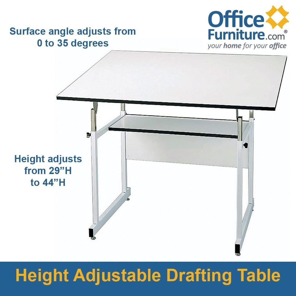 "Workmaster Junior Four-Post Drafting Table With White Base White Top/White Base Dimensions: 48""W X 36""D X 29-44""H Weight: 80 Lbs"