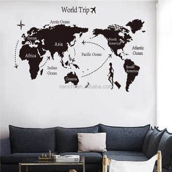 Large size world trip route world map wall sticker for sofa bedroom large size world trip route world map wall sticker for sofa bedroom living room wallpaper removable gumiabroncs Image collections