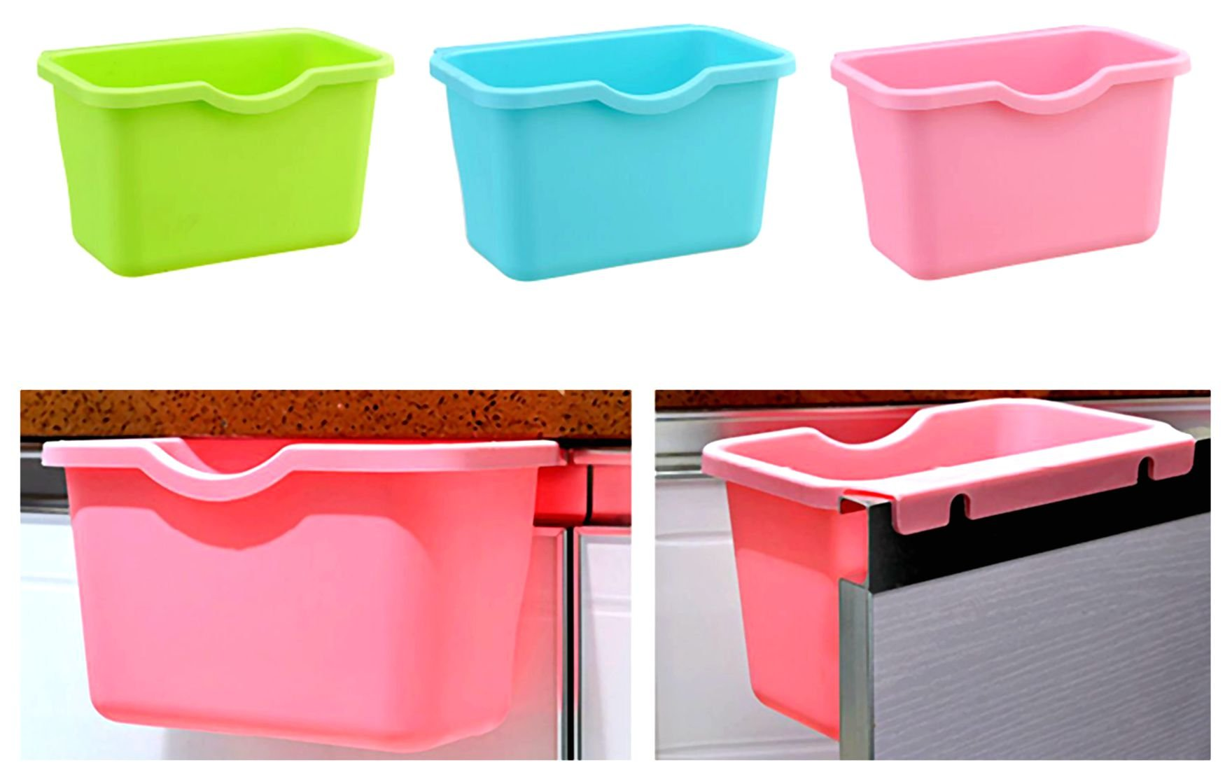 Creative Plastic Basket Wastebaskets VANORIG Multifuctional Hanging Trash Can Waste Bins Deskside Recycling Garbage Bowls Can Containers ,Pack of 3 (Assorted Colors)