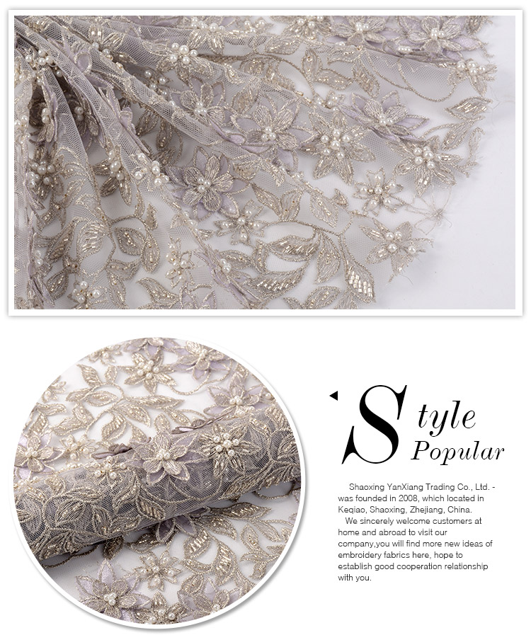 Alibaba supplier fashion poly heavy flower 3d beaded overlay embroidered lace fabric