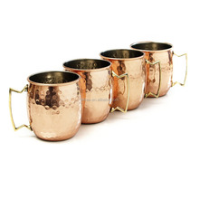 Antique Moscow Mule Hammered Solid Copper Mugs Set Of 4