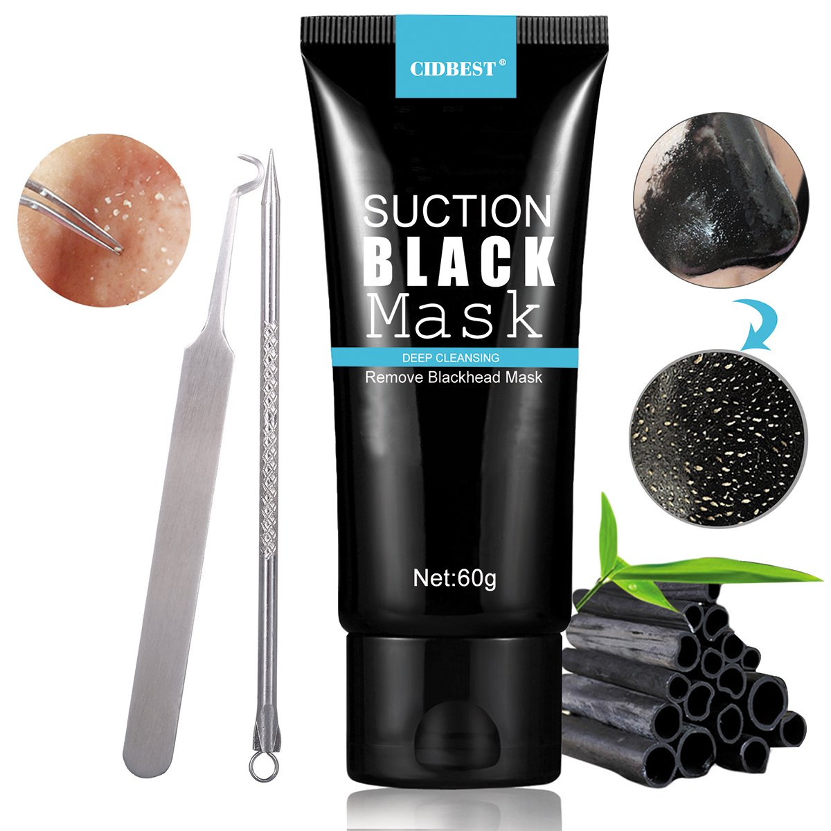 Bamboo Charcoal Peel off Mask , Blackhead Remover Tool Kit, Black Mask, Blackhead Remover Mask, Purifying Peel-off Acne Mask, Deep Cleansing Suction Blackhead Black Mud Face Mask