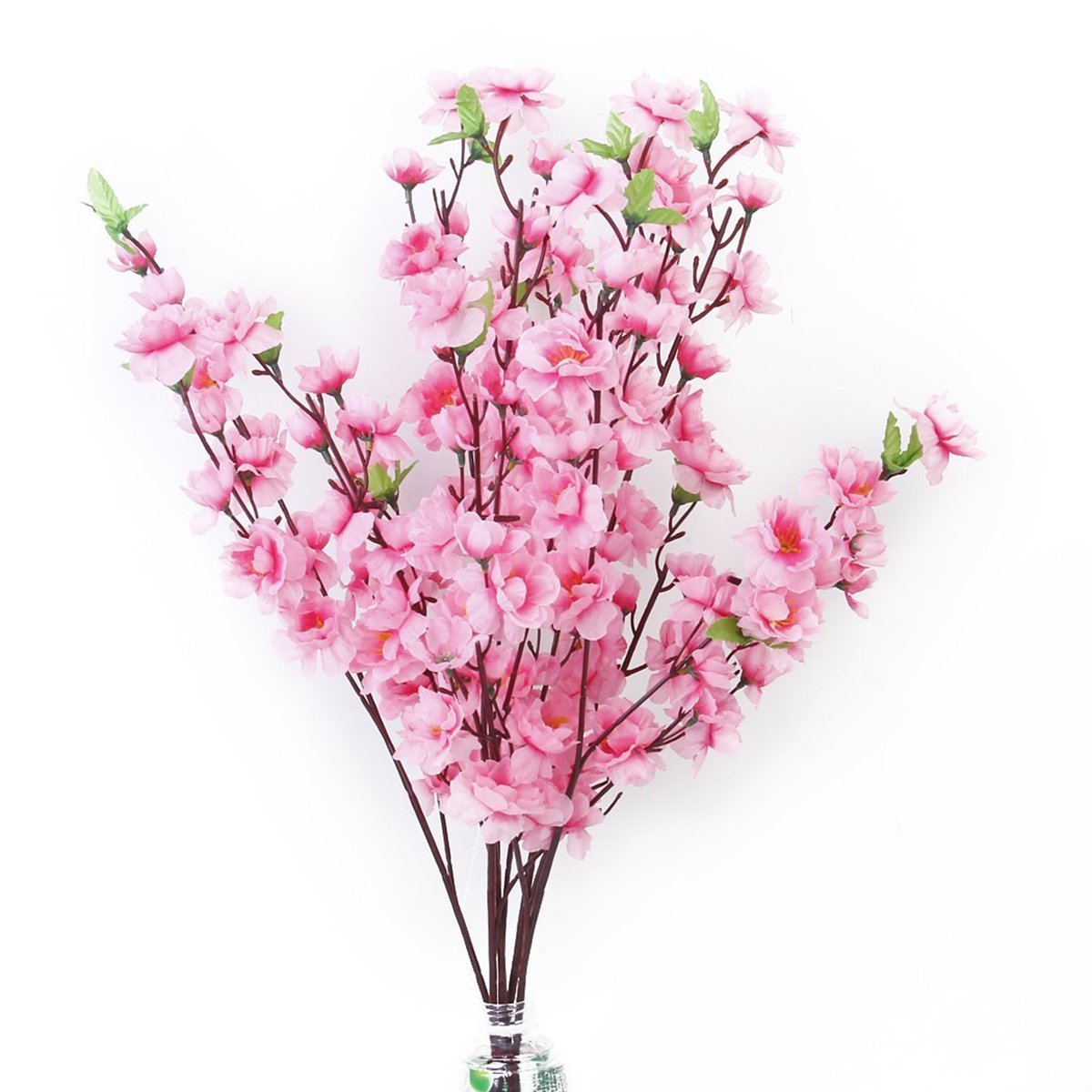 Tinksky 6pcs Peach Blossom Simulation Flowers Artificial Flowers Silk Flower Decorative Flowers Wreaths (Pink)