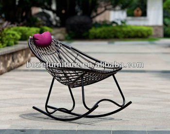 Outdoor Furniture Rocking Chair / Steel Rattan Chair Garden Furniture Made  In China