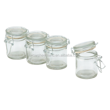 50ml Round Glass Jars Hinge Lid Rubber Gasket Clear Canisters Food