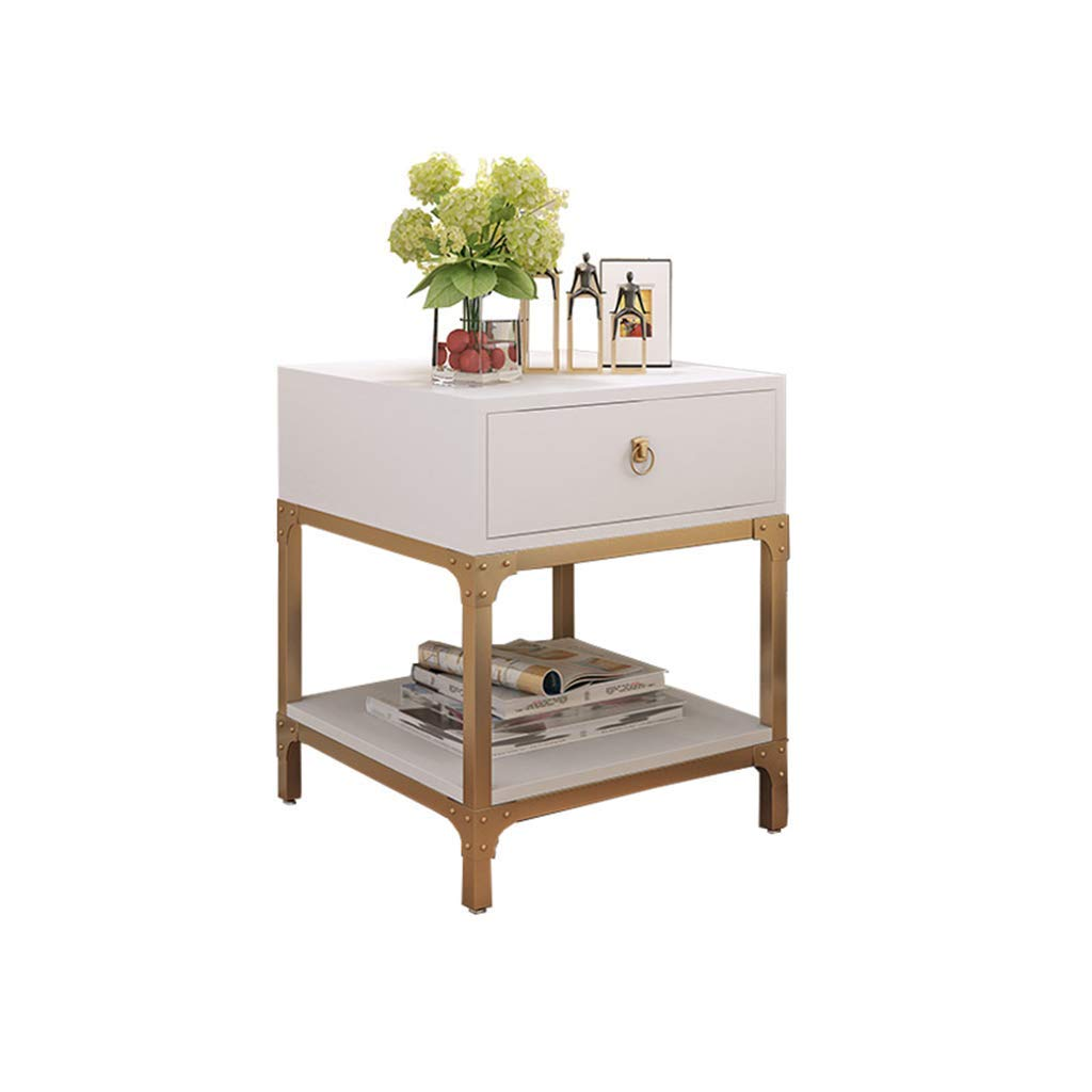 Bedside table Dressing Table Simple Storage Cabinet Storage Cabinet Multifunctional Small Cabinet Solid Wood Bedside Cabinet (Color : White, Size : 505060cm)