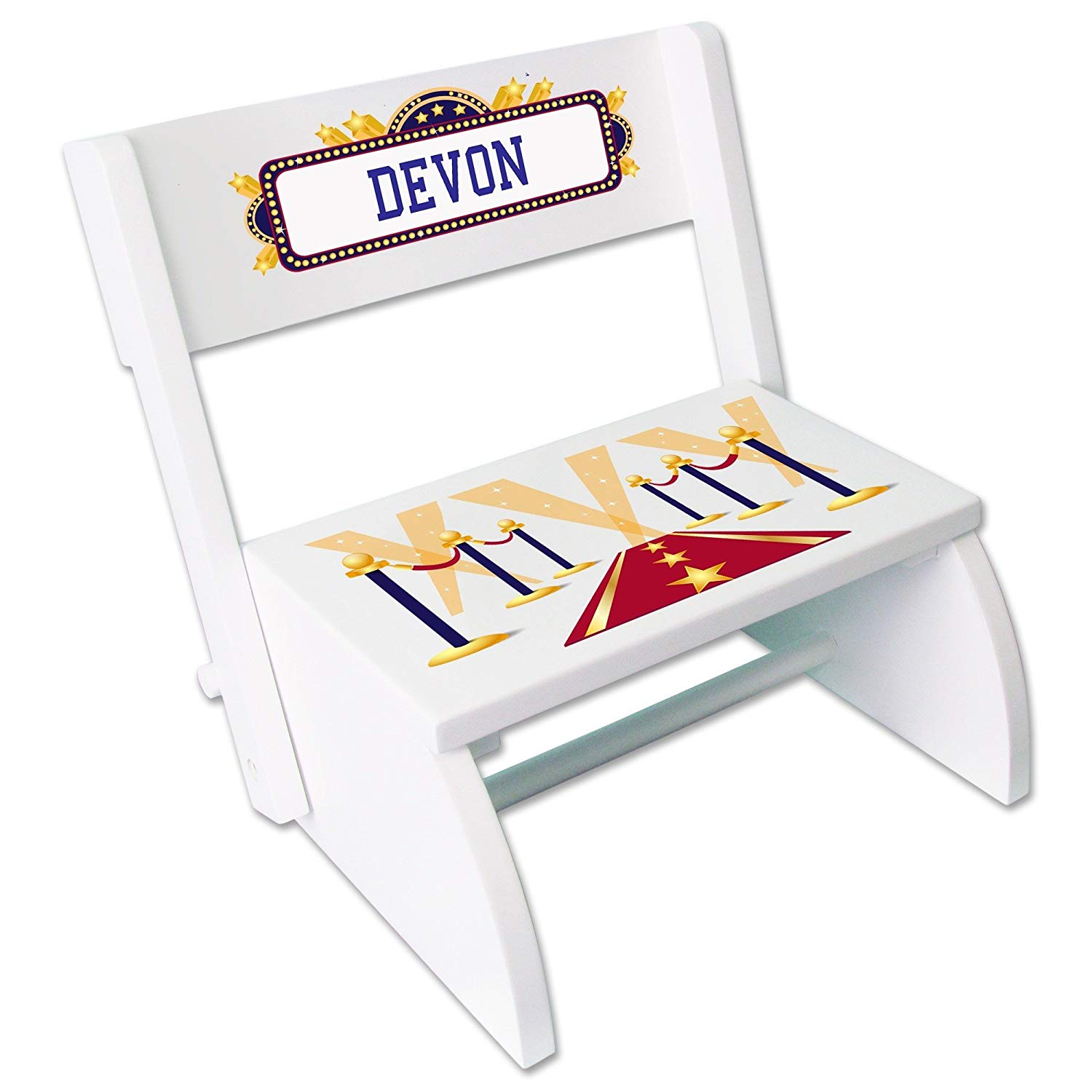Personalized A Star is Born Blue White Wooden Folding Stool and Seat