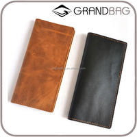 Guangzhou Wholesale Fashion Vintage Casual Style Classic Simple Young Man Crazy Horse Leather Long Wallet Bi-fold Wallet for men