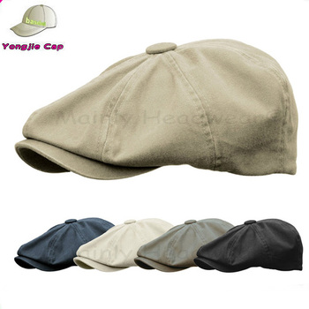 34146a89 STONE WASHED COTTON Cap Mens Newsboy Ivy Hat Golf Driving Flat Cabbie
