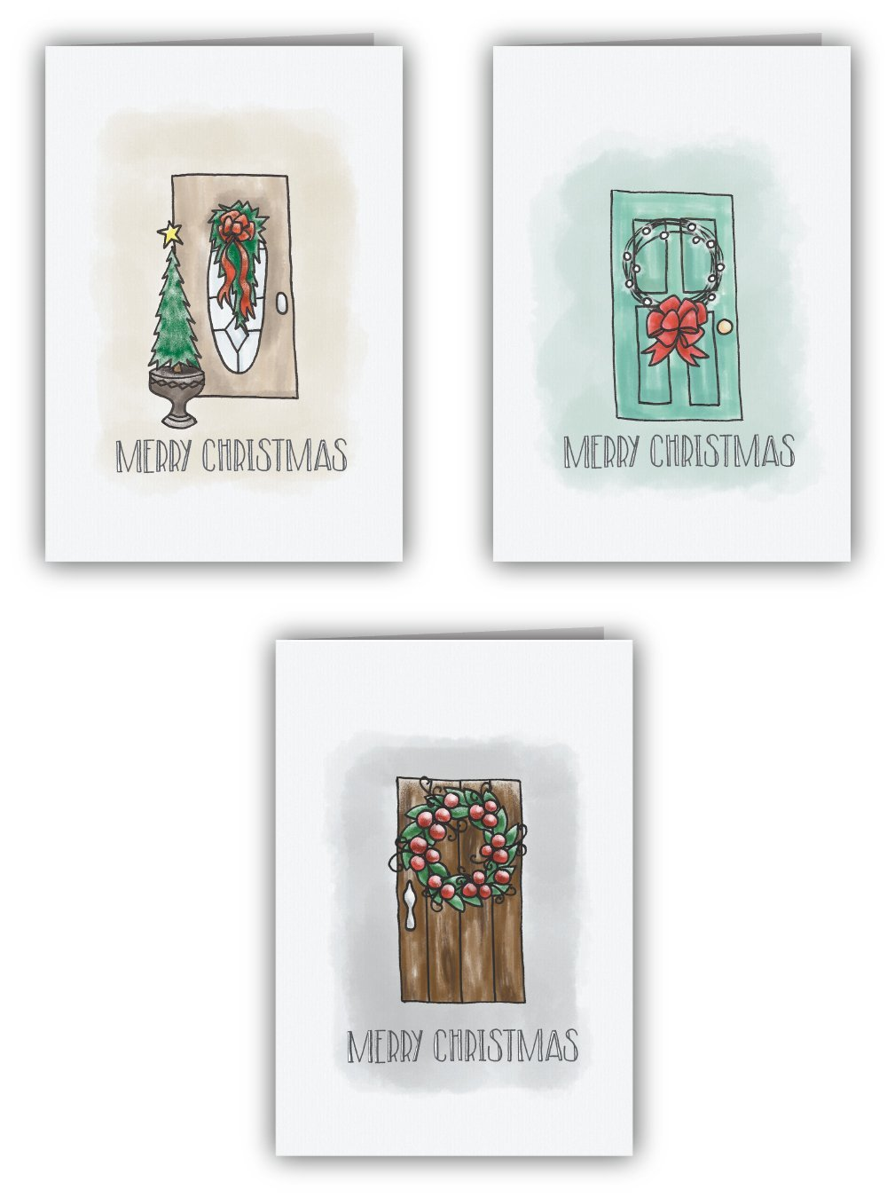Christmas Door Merry Christmas Card Collection - 24 Cards & Envelopes