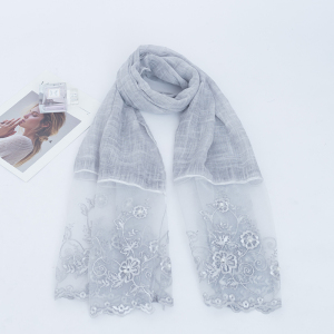 Arab Stoles And Shawls Cotton Material New Fashion Lace Design With white Pearls Scarf Women Hijab
