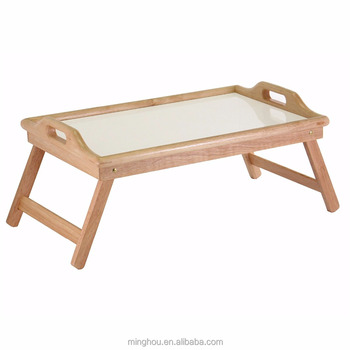 Wooden Breakfast In Bed Tray Foldable Portable Serving Tv Table With Stand Desktop For