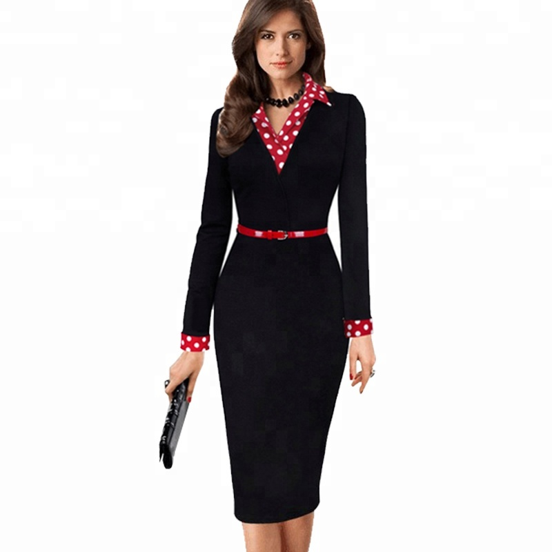 Vintage Polka Dots Bodycon Formal Long Sleeve Career Office Business Pencil Dress фото