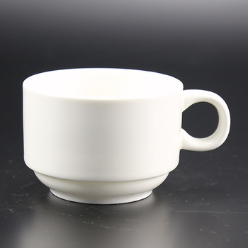6oz Plain White Color Stacking Style Italian Feature Coffee Mugs By Ceramic Porcelain Material