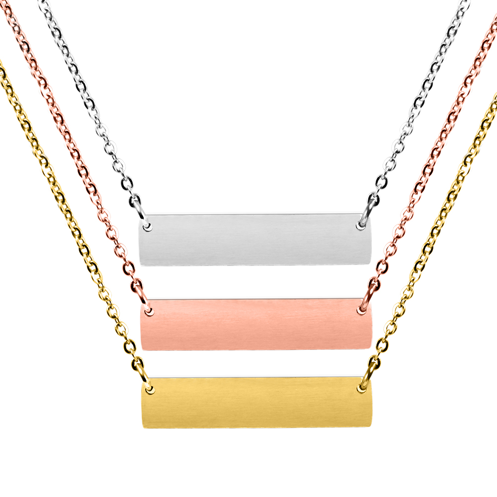 Personalised Women Chain Blank Engraved Bar Name Plate Custom Stainless Steel Jewelry Necklace, Silver;gold;rose gold