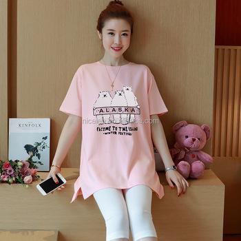 Ns0808 Korean Fashion Women Casual Printed Maternity T Shirts