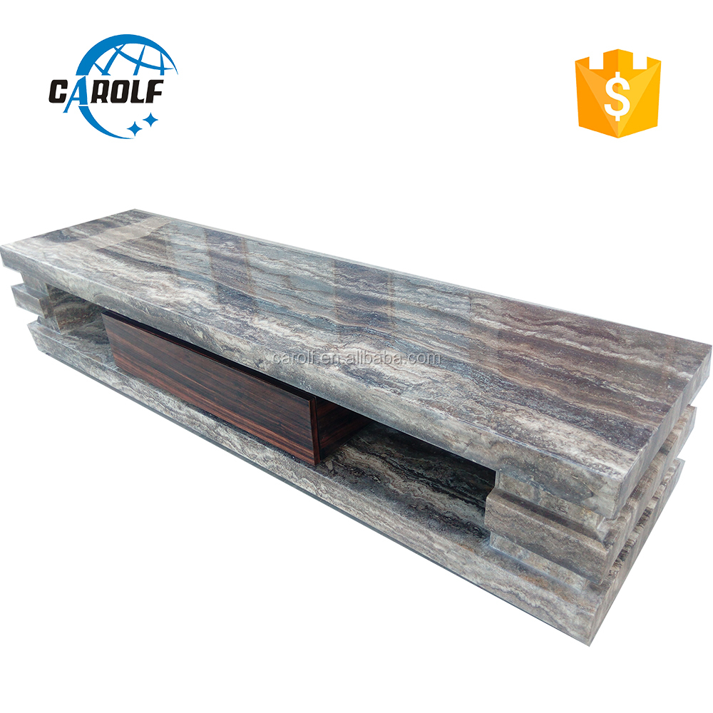 High quality uk Simple marble tv stand wood cabinet