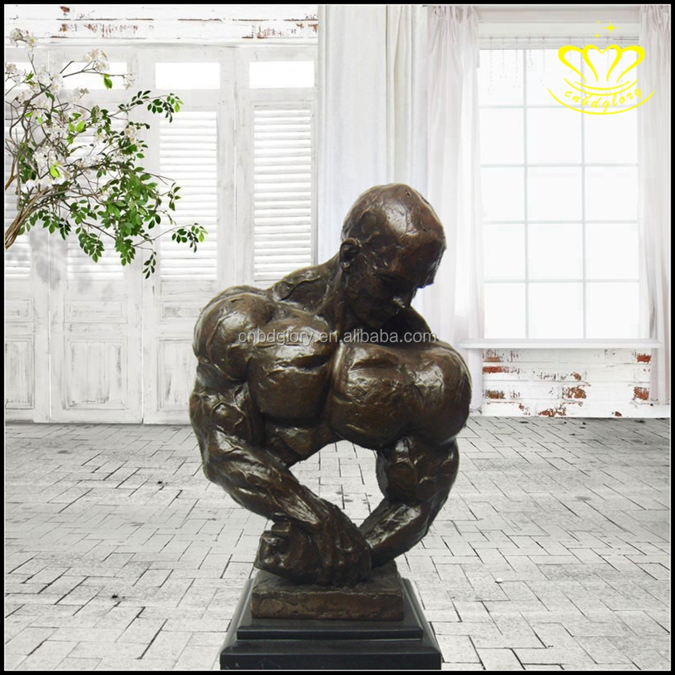 Naked muscle man casting bronze sculpture