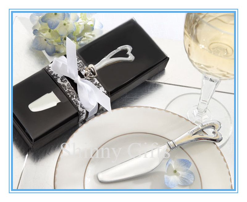free wedding favor samples Spread the Love Chrome Spreader with Heart-Shaped Handle Wedding Decoration