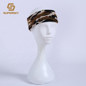 J609  Unisex Knit Winter Elastic Sport Camo Headband Stretch Headband