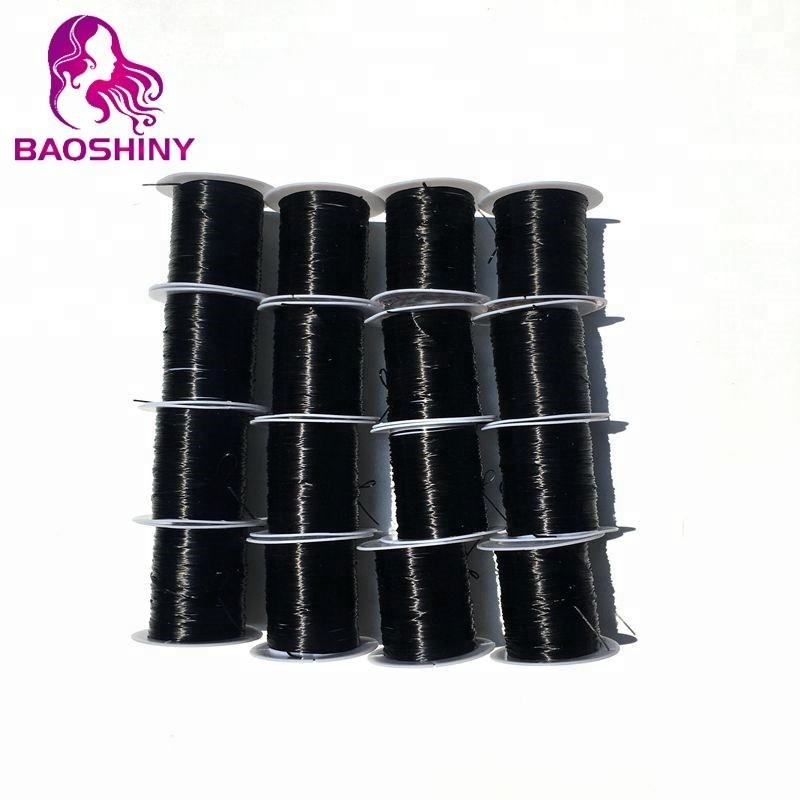 Black Flat Black Line Nylon Rubber Stretchy Cord For Hair Extension Elastic Thread 9meters per roll