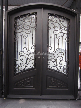 Eyebrow Main Entry Wrought Iron Double Leaf Door Design