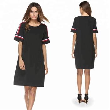 0863c6c1f Últimas fábrica negro sport moda casual wear verano señoras vestidos  mujeres elegante