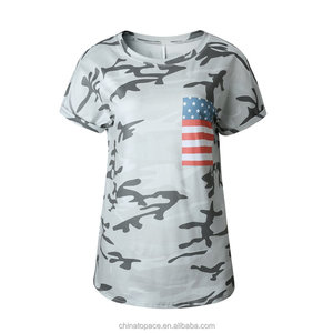 Women's Patriot American Flag USA Baseball Jersey Tops Tee Shirts Casual Blouse Cheap Wholesale Promotional Camo T Shirts