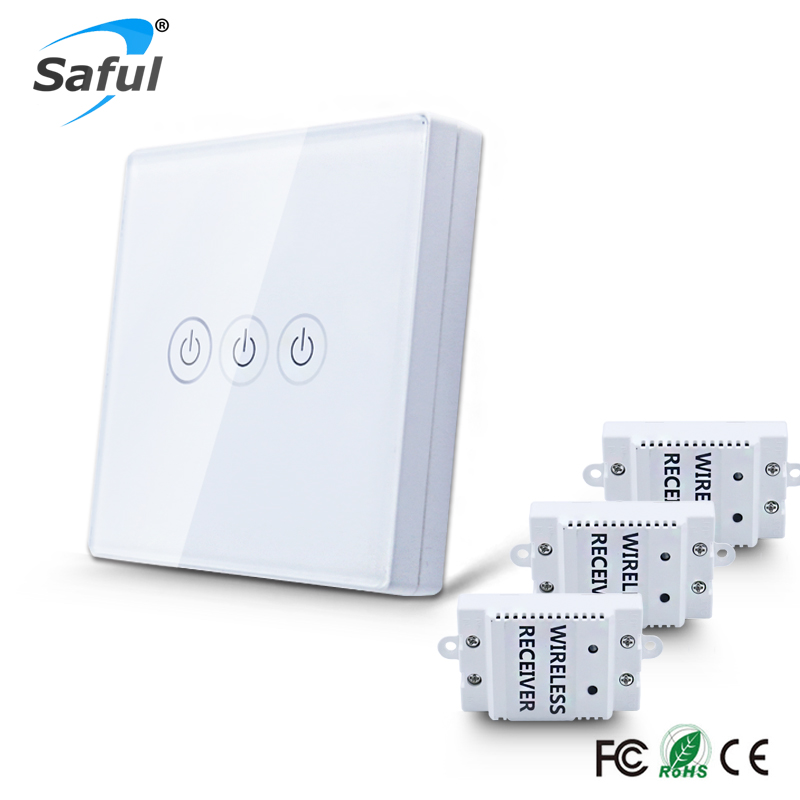 Luxury White & Black Crystal Glass Touch Panel Intelligent wall switch with led indicator light