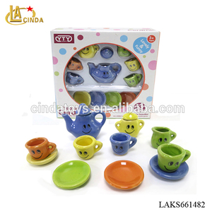 Colorful ceramic toys, tea cups set gift with smile face toy tea set 13pcs