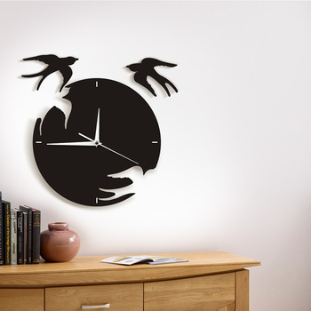 Swallows 3D Wall Clock Nature Animal Wall Art Decor Modern Design Flying Birds Artwork Creative Living Room Decoration